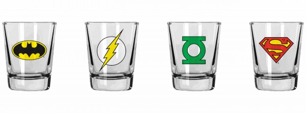 SET 4 MINI VASOS LOGOS DC COMICS