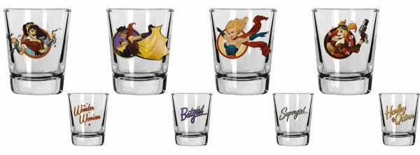 SET 4 MINI VASOS BOMBSHELLS DC COMICS
